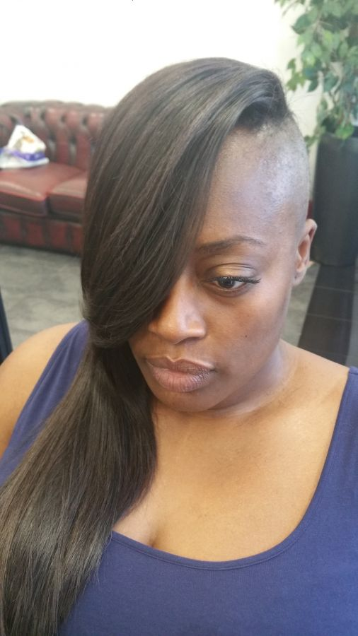 client image funky shaved side, weave on